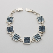Sterling Silver and Polymer Square Link Bracelet