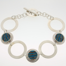 Sterling Silver and Polymer Link Bracelet